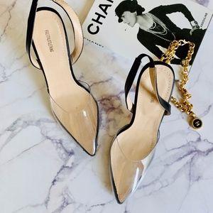 PLT Clear Black Slingback Pointed Toe Heels